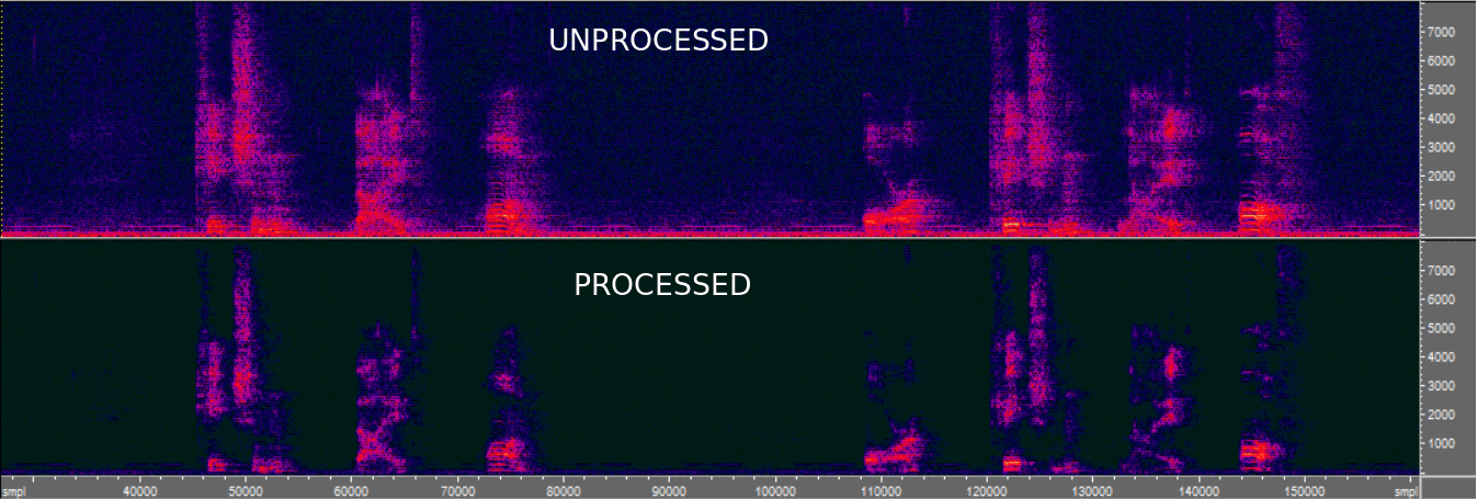 Reverberated signal on top, dereverberated signal at the bottom